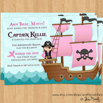 Girl's Pirate Buccaneer Birthday Invitation, Ahoy Matey Party Invite - Printable, Digital, Ocean Waves, Pirate, Ship, Treasure Hunt, Captain
