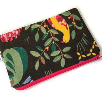 Woodland Zip Pouch -  Cosmetic Bag - Makeup Bag - Cute Kids Pouch - Woodland Animals - Gift for Her - Travel Organizer - Purse Organizer
