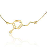 Dopamine necklace - 14k gold chemistry jewelry, chemistry necklace, science jewelry