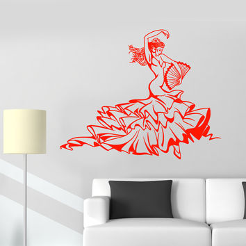 Vinyl Wall Decal Hot Sexy Flamenco Dance Dancer Woman Stickers Unique Gift (1371ig)
