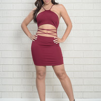 Point of View Dress -  Burgundy