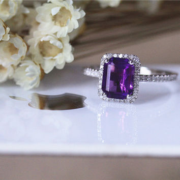 Birthday Gift Halo Amethyst Ring 6x8mm Emerald Cut Diamond Ring Solid 14K White Gold Engagement Ring Wedding Ring Bridal Ring Stackable Ring