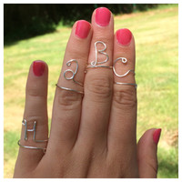 Initial Letter Midi Ring or Pinky Ring, Adjustable Personalized Ring