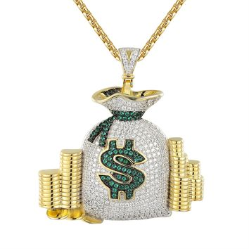 Sterling Silver Money Bag Iced Out Cash Coins Pendant