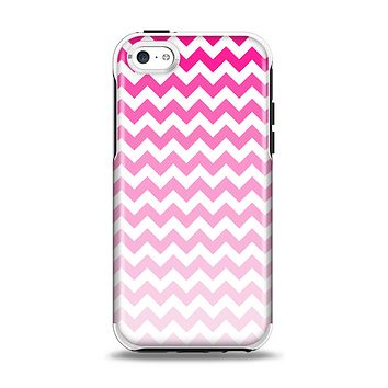 The Pink & White Ombre Chevron Pattern Apple iPhone 5c Otterbox Symmetry Case Skin Set