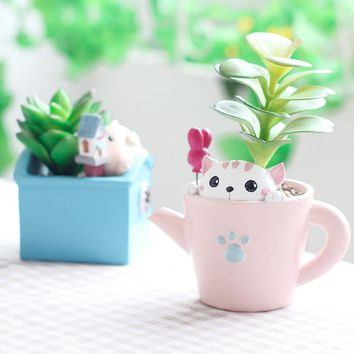 ROOGO 11.11 new design fashion cartoon animal planter zakka handcrafts kawaii flower pots succulent plant pot