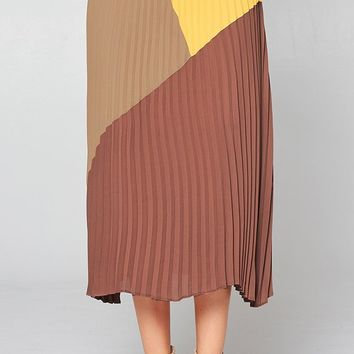 Feeling Groovy Brown Yellow Colorblock Pleated Elastic Waist A Line Midi Skirt