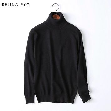 Rejina Pyo Women's Knitted Turtleneck Sweater Female's Merino Opossum fur Mohair Silk Sweater High Quality Brand New Pullovers