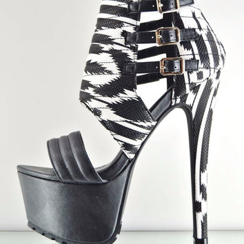 Xpress Black White Tribal Aztec Print Buckle Ankle Cuff Platform Shoe