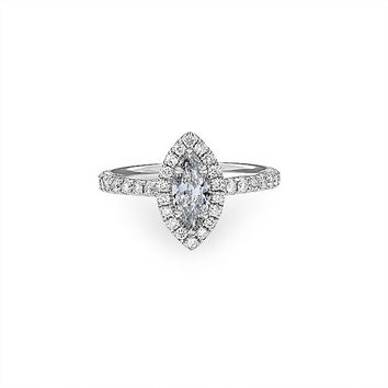 14K White Gold .51 ct. Marquise Halo Diamond Engagement Ring