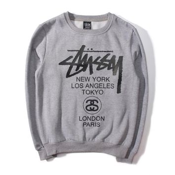 Stussy Men and women with thick sweater couple sets of small head cotton sweater Grey