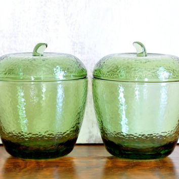Pair of Vintage Hazel Atlas Green Glass Apple, Storage Containers, Jelly Jars