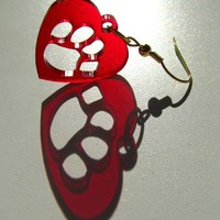 Pawprint Earrings Red Blue University of Arizona Bear Down Wildcats U of A Basketball Football Sports College Student Parent Free Shipping
