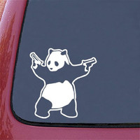 "CMI355 Shooting Panda - Car Vinyl Decal Sticker - WHITE - (5.75""w x 6""h) Guns Panda"