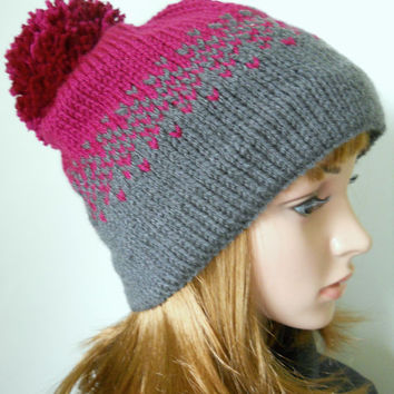 Pom Pom Beanie with Ombre Effect in Grey and Purple, Handknit Slouchy Beanie with Trickle Down Effect in Gray and Violet