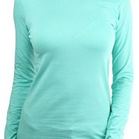 Women's Long Sleeve Round Crew Neck T-Shirt