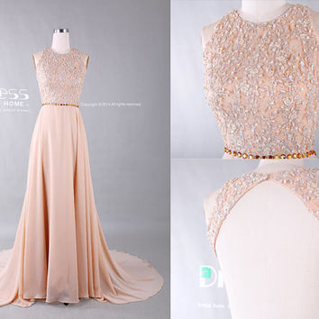 Sweet 16 Champagne Round Neck Beading Belt Lace Long Prom Dress/Open Back Lace Prom Dress/Sexy Evening Gown/Lace Wedding Dress DH378