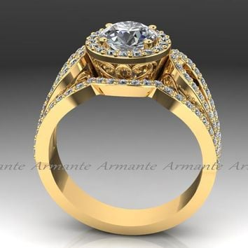 14K Yellow Gold Diamond And Moissanite Filigree Ring Wedding Set