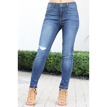 Distressed Knee Midrise Skinny Jean (Sale)