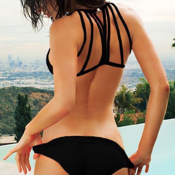 Black Strappy Back Triangle Bikini