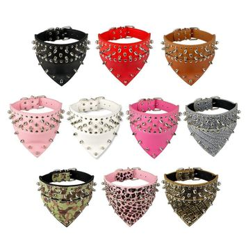 New Design SpikeD Studded Dog Collar PU Leather Pet Collar With Bandana Neck size for 15-24 for S/M/L Breeds