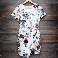 full bloom floral asymmetrical dress in ivory