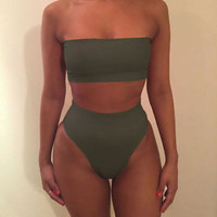 Newest 2017 Strapless Sexy Bikini Set Push-up Padded Swimsuit Bathing Swimwear Suit For Women S-XL 7 Colors High Quality Biquini Black Green