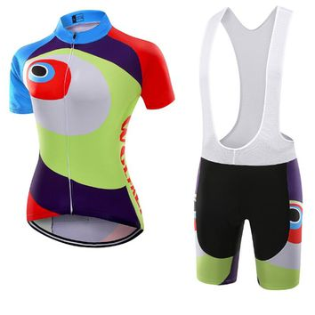 Summer Women Wolfkei MTB cycling jersey short sleeve and tight bib shorts gel pad sets team bike clothing ciclismo bicycle wear