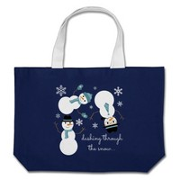 "Tumbling Snowman tote ""dashing through the snow"""