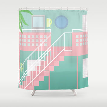 Motel Paradise Shower Curtain by Claudia Duarte