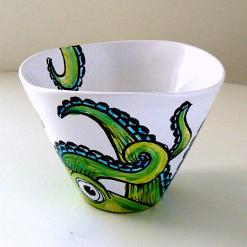 Ceramic Bowl Green Octopus White Turquoise Painted Kraken modern cephalopod tentacles sea creature nautical - MADE TO ORDER