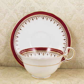 Vintage Aynsley White, Maroon and Gold Trimmed Durham Bone China English Teacup