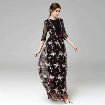 Summer Dress 2017 Ukraine Women Maxi Dress Robe Longue Femme gauze Embroidered flowers Vintage Sexy Plus Size Women Clothing