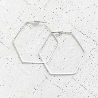 18k + Sterling Silver Delicate Hexagon Hoop Earring-