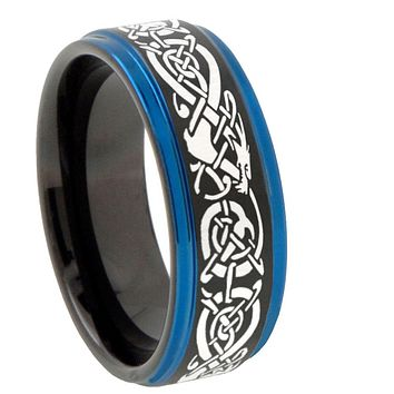 8mm Celtic Dragon Blue Step Edges Tungsten Carbide Mens Wedding Ring
