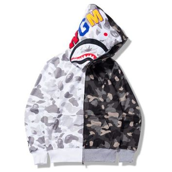 ONETOW Bape Aape Shark Autumn thin section camouflage color camouflage sweatshirt long-sleeved jacket Gray + white