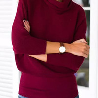 Red High Neck Knitted Sweater
