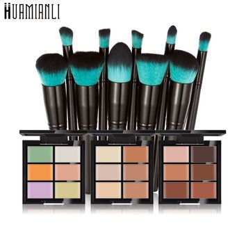 Huamianli Love Beauty 1 Box Six Color Face Concealer Primer+10pcs Foundation Powder Cosmetic Makeup Brushes May31 Drop Shipping