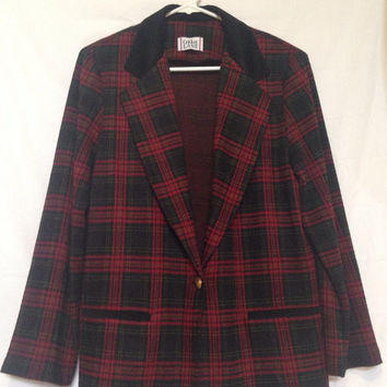 Vintage Cricket Lane Red Tartan Plaid Blazer, Fits M/L