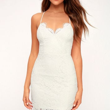 Flirting with Desire White Lace Bodycon Dress
