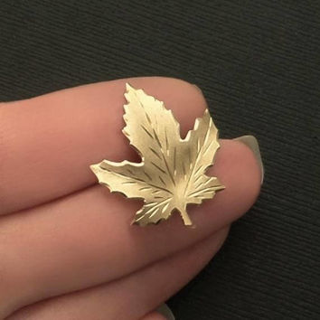 Vintage Gold Autumn Leaf Brooch Vermeil STERLING Silver Signed Jewelry Maple Leaves PIN Canadian Canada National Symbol Hallmarked c.1960s