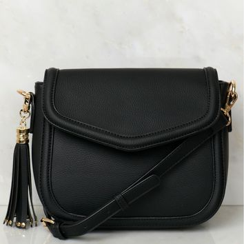 Tassel Accented Shoulder Bag Black