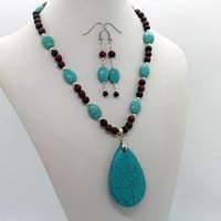 Turquoise Magnesite Mahogany Obsidian Necklace Earrings Set Natural Stone