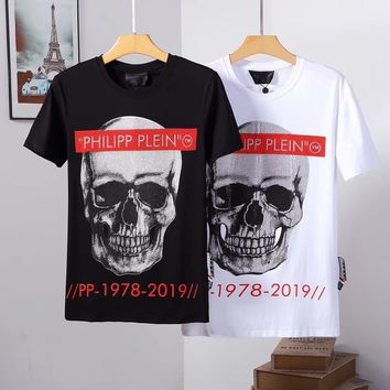 Philipp Plein PP Men Fashion Casual Sports Shirt Top Tee White Black