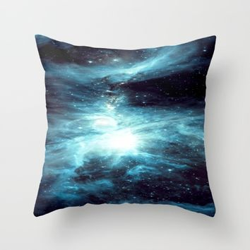 Orion Nebula Teal  Throw Pillow by GalaxyDreams