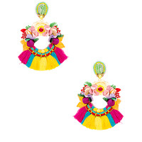 Ranjana Khan Multi Tassel Hoop Earring in Multi | REVOLVE