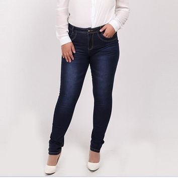 WOMEN JEANS 2016 Fashion High Waist Casual Denim skinny Pant Femme Pencil Jeans Trousers Female XL-4XL 7XL 5XL 6XL Plus Big Size