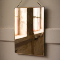 Large Rectangle Brass Finish Wall Mirror With Chain
