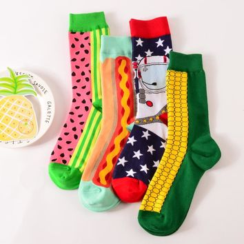 1 pair new brand men cotton casual socks in tube novelty harajuku designer fashion street watermelon skateboard long funny socks