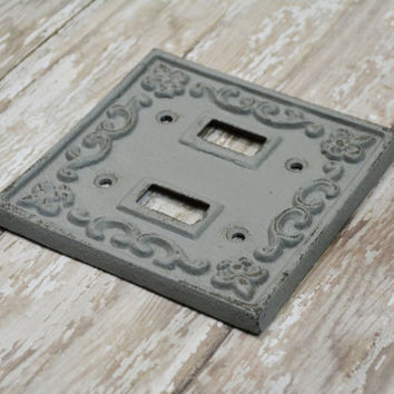 Distressed Double Light Switch Cover, Double Light Switch Plate, Rustic Home Decor, Shabby Chic Decor, LightSwitch Cover, Rustic Wall Decor